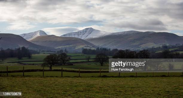 General view of Snow Capped Pen-Y-Fan and Cribyn Mountains in the Brecon Beacons on December 6, 2020 at Brecon, Powys, Wales, United Kingdom.