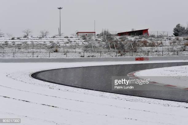 A general view of snow settled on the circuit during day three of F1 Winter Testing at Circuit de Catalunya on February 28 2018 in Montmelo Spain