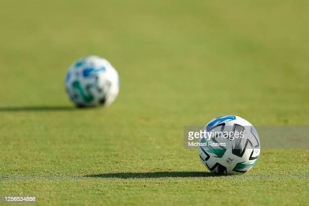 General view of soccer balls on the pitch prior to a Group E match between Atlanta United and FC Cincinnati as part of the MLS Is Back Tournament at...
