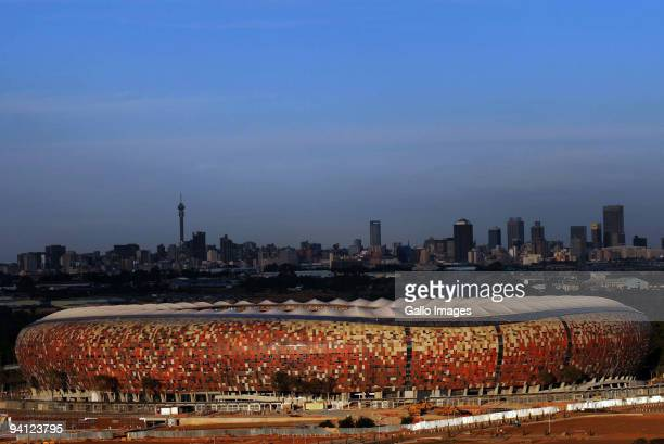 General view of Soccer City Stadium on December 7, 2009 in Johannesburg, South Africa. The Soccer City Stadium will host both the opening and final...