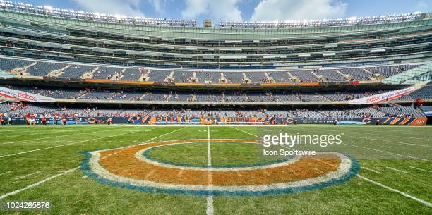 A general view of Soldier Field and the Chicago Bears logo is seen prior to game action in a preseason NFL game between the Kansas City Chiefs and...