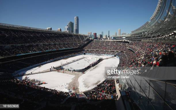 General view of Soldier Field during the Hockey City Classic on February 17, 2013 in Chicago, Illinois.