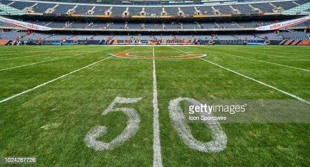 A general view of Soldier Field the Chicago Bears logo and the 50 yard line is seen prior to game action in a preseason NFL game between the Kansas...