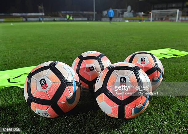 General view of some FA Cup branded footballs during the The Emirates FA Cup First Round match between Southport and Fleetwood Town at the Merseyrail...