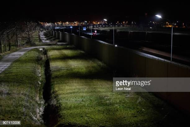 A general view of some of the security fencing sections on January 18 2018 in Calais France During a visit to the UK by French President Emmanual...