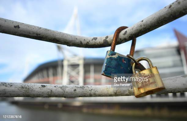 A general view of some padlocks on a fence outside of the Principality Stadium after the Six Nations match between Wales and Scotland at Principality...