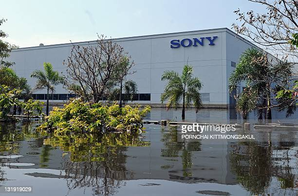 General view of Sony factory surrounded by floodwaters at a Hi-Tech industrial estate in Ayutthaya province on November 8, 2011. Thailand's prime...
