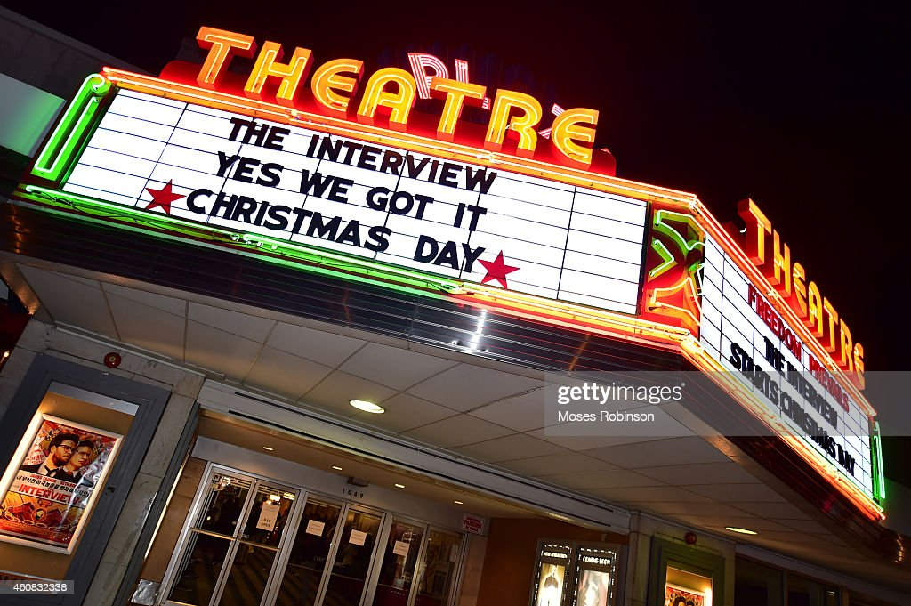 General view of Sony Pictures' release of 'The Interview' at the Plaza Theater on, Christmas Day, December 25, 2014 in Atlanta, Georgia. Sony hackers have been releasing stolen information and threatened attacks on theaters that screen the film.