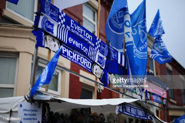 A general view of souvenir scarves and flags on a stall before the Premier League match between Everton FC and Tottenham Hotspur at Goodison Park on...