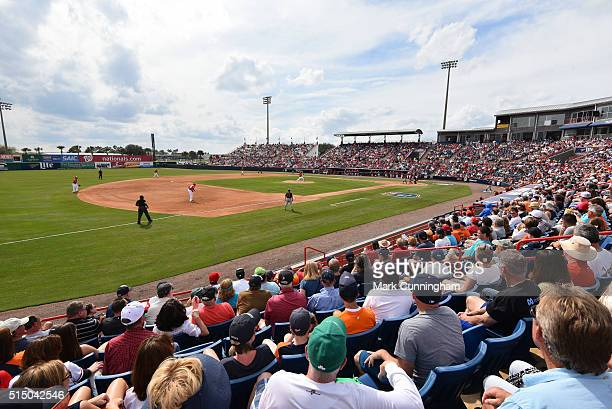 A general view of Space Coast Stadium during the Spring Training game between the Detroit Tigers and the Washington Nationals at Space Coast Stadium...