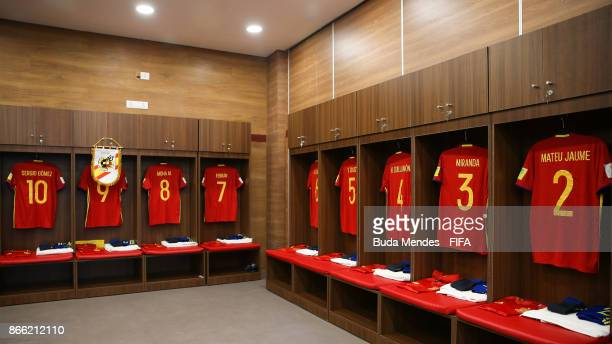 General view of Spain dressing room prior to the FIFA U17 World Cup India 2017 Semi Final match between Mali and Spain at Dr DY Patil Cricket Stadium...
