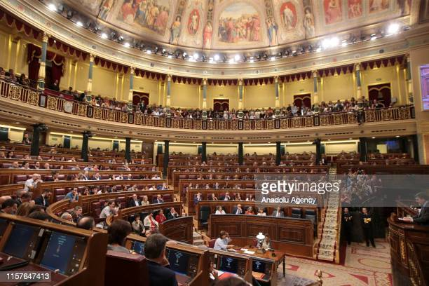A general view of Spanish Parliament during the third day of a session held on July 25 2019 in Madrid Spain Spains Prime Minister Pedro Sanchez...