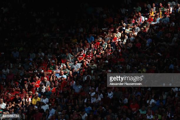 General view of spectators during the Bundesliga match between SportClub Freiburg and Eintracht Frankfurt at SchwarzwaldStadion on August 20 2017 in...