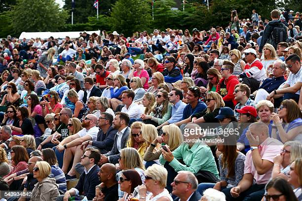 A general view of spectators on Murray Mound during day four of the Wimbledon Lawn Tennis Championships at the All England Lawn Tennis and Croquet...