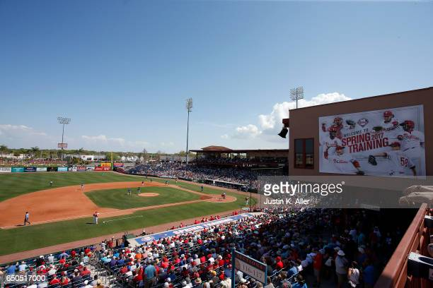 A general view of Spectrum Field during the game between the Philadelphia Phillies and the Toronto Blue Jays on March 9 2017 at Spectrum Field in...
