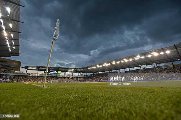 A general view of Sporting Park during a lighting delay prior to the start of the game between Sporting Kansas City and the Colorado Rapids on May 16...