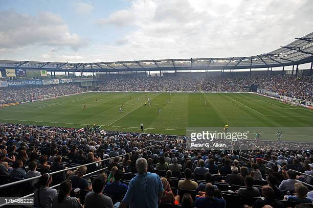 A general view of Sporting Park during the opening kickoff of a game between Sporting Kansas City and the New York Red Bulls on August 3 2013 in...