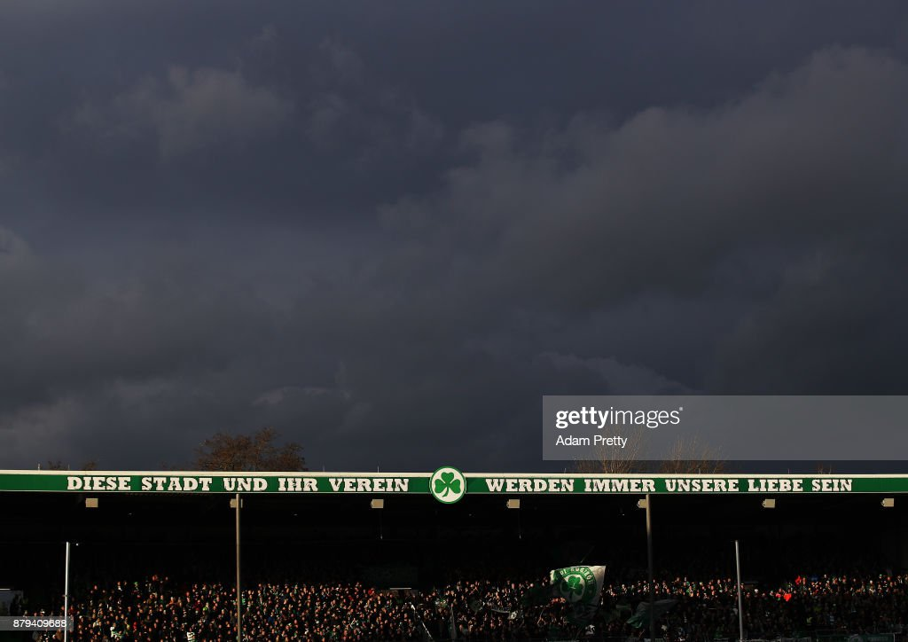 A general view of Sportpark Ronhof Thomas Sommer during the Second Bundesliga match between SpVgg Greuther Fuerth and FC St. Pauli at Sportpark Ronhof Thomas Sommer on November 26, 2017 in Fuerth, Germany.