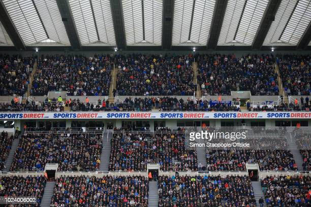 A general view of Sports Direct branding during the Premier League match between Newcastle United and Chelsea at St James' Park on August 26 2018 in...