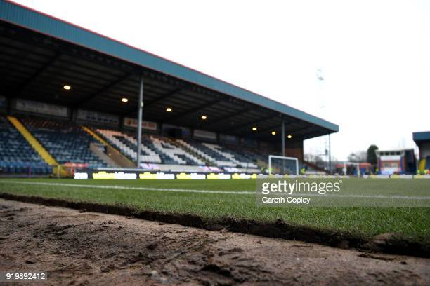 A general view of Spotland Stadium ahead of The Emirates FA Cup Fifth Round match between Rochdale and Tottenham Hotspur on February 18 2018 in...