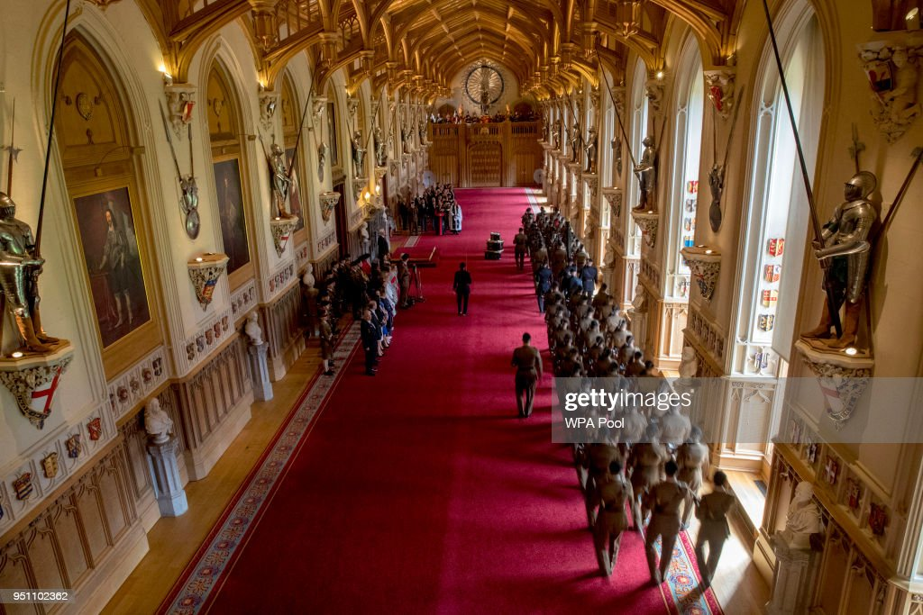 A general view of St George's Hall as Queen Elizabeth II, Colonel-in-Chief of the Royal Tank Regiment, presents the regiment with their new standard in St George's Hall at Windsor Castle on April 25, 2018 in Windosr, England.