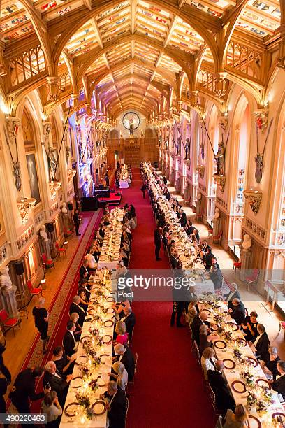 A general view of St Georges Hall at a dinner to celebrate the work of The Royal Marsden hosted by the Duke of Cambridge on May 13 2014 in Windsor...