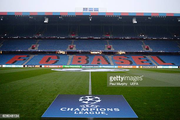 A general view of St JakobPark before the UEFA Champions League match between FC Basel 1893 and Arsenal FC at St JakobPark on December 6 2016 in...