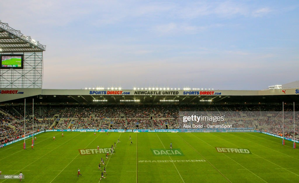A general view of St James' Park during the Betfred Super League Round 15 match between Castleford Tigers and Leeds Rhinos at St James' Park on May 19, 2018 in Newcastle upon Tyne, England.