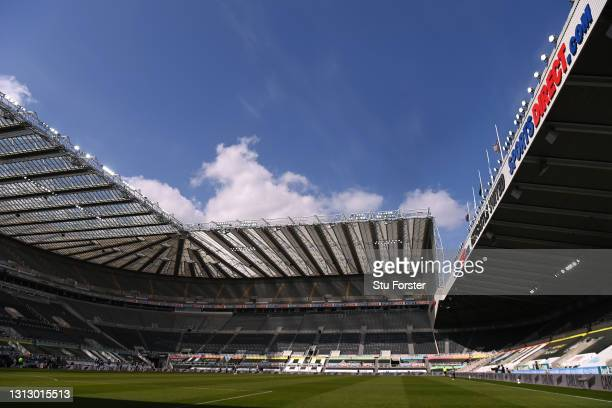 General view of St James' Park during the Premier League match between Newcastle United and West Ham United at St. James Park on April 17, 2021 in...