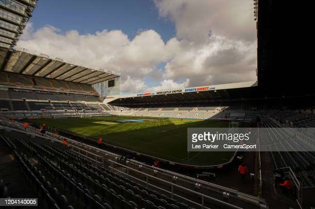 A general view of St James' Park home of Newcastle United FC during the Premier League match between Newcastle United and Burnley FC at St James Park...