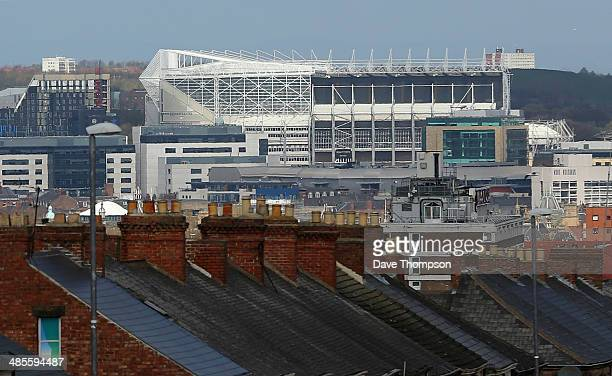 General view of St James Park on the Newcastle city skyline before the Barclays Premier League fixture between Newcastle United and Swansea City at...