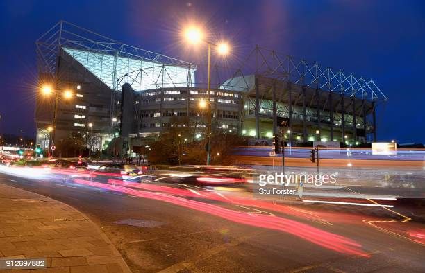 General view of St James' Park pictured before the Premier League match between Newcastle United and Burnley at St James Park on January 31 2018 in...