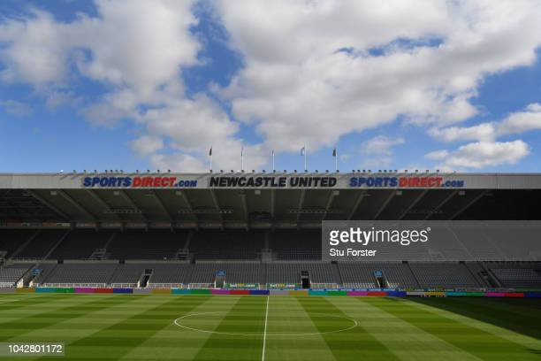 A general view of St James' Park with Sports Direct signage before the Premier League match between Newcastle United and Leicester City at St James...