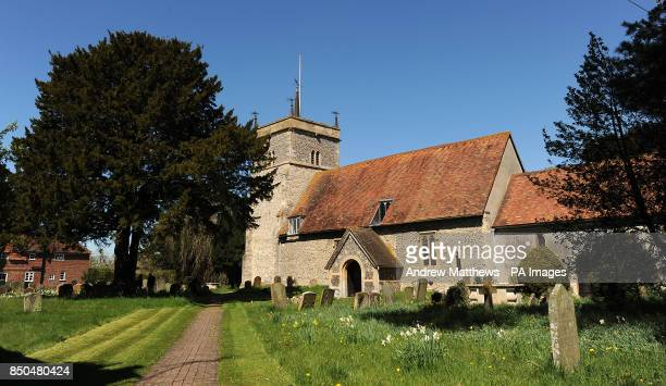 General view of St Mary the Virgin church in Bucklebury Village in West Berkshire