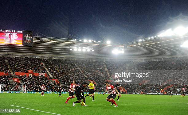General view of St Mary's Stadium and Daniel Sturiddge of Liverpool during the Barclays Premier League match between Southampton and Liverpool at St...