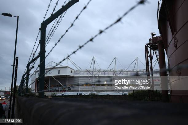 A general view of St Mary's Stadium through barbed wire ahead of the Premier League match between Southampton FC and Leicester City at St Mary's...