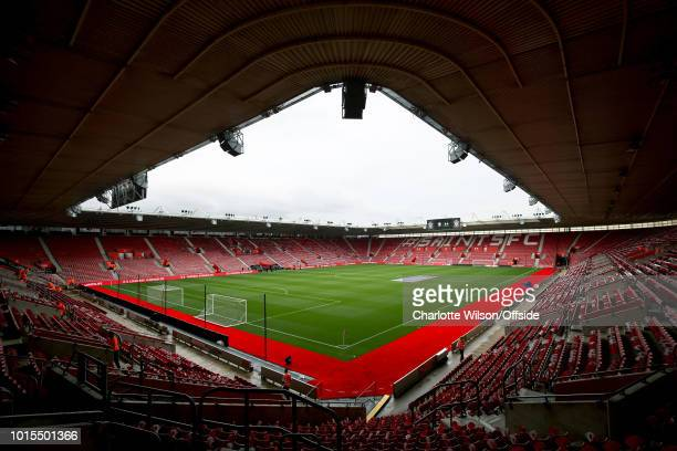 A general view of St Marys Stadium with new red carpeting surrounding the pitch ahead of the Premier League match between Southampton FC and Burnley...