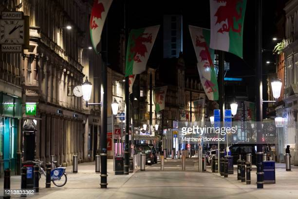 General view of St. Mary's Street, a road usually busy on a Friday evening, on March 20, 2020 in Cardiff, United Kingdom. This afternoon Boris...