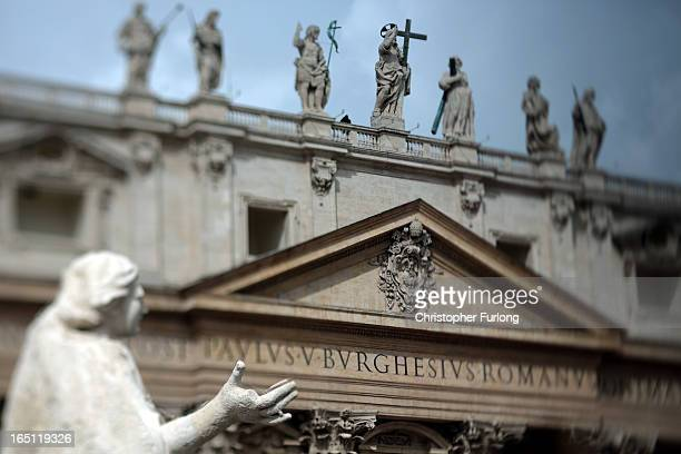 General view of St Peter's Basilica as Pope Francis delivers Mass prior to his first 'Urbi et Orbi' blessing from the balcony of St. Peter's Basilica...