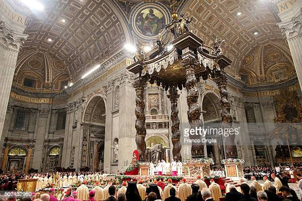 A general view of St Peter's Basilica during the Christmas Night Mass held by Pope Francis on December 24 2015 in Vatican City VaticanChristians...