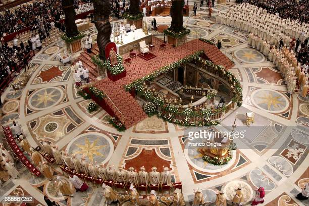A general view of St Peter's Basilica during the Easter vigil mass held by Pope Francis on April 15 2017 in Vatican City Vatican Pope Francis on Holy...
