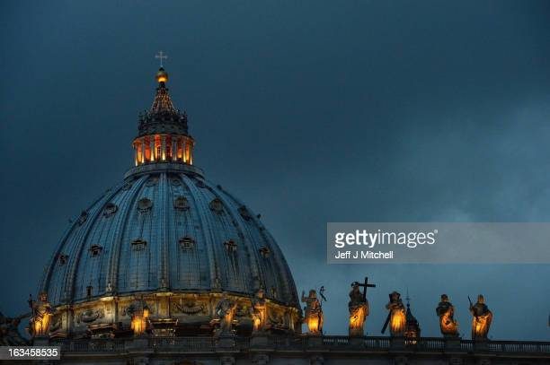 General view of St. Peter's Basilica on March 10, 2013 in Vatican City, Vatican. Cardinals are set to enter the conclave to elect a successor to Pope...