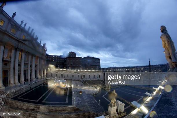 A general view of St Peter's Square as Pope Francis attends an extraordinary moment of prayer in time of pandemic the adoration of the Blessed...