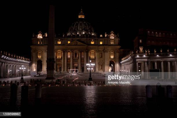 General view of St. Peter's Square as Pope Francis attends an extraordinary Via Crucis at the St. Peter's Square during the Coronavirus emergency, on...