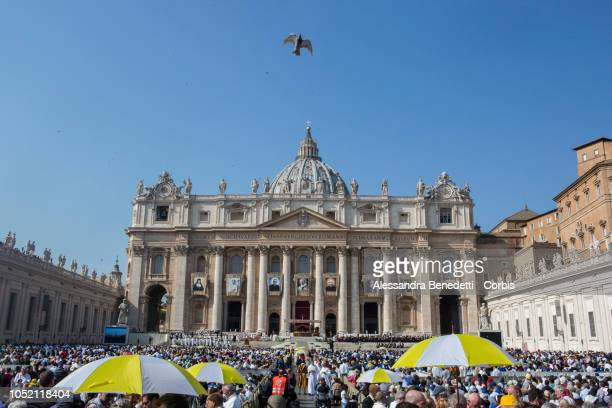 General view of St Peter's Square during the canonisation ceremony presided by Pope Francis of seven new Saints including Pope Paul VI and Archbishop...