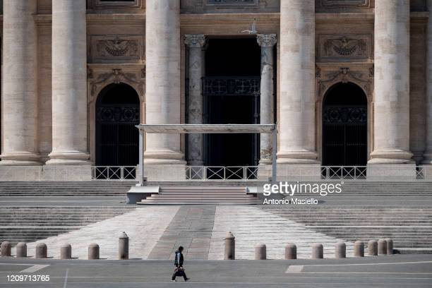 A general view of St Peter's Square while Pope Francis celebrates the Easter Mass inside the empty St Peter's Basilica during the Coronavirus...
