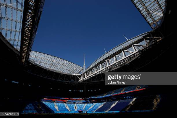 A general view of St Petersburg Stadium during previews ahead of the 2018 FIFA World Cup on June 14 2018 in St Petersburg Russia