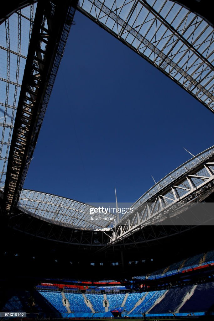 A general view of St Petersburg Stadium during previews ahead of the 2018 FIFA World Cup on June 14, 2018 in St Petersburg, Russia.