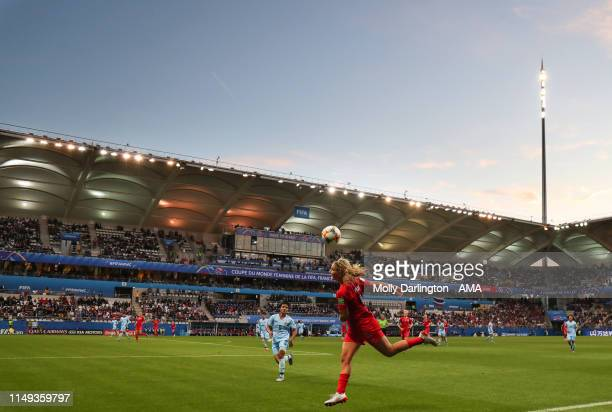 A general view of Stade Auguste Delaune as Lindsey Horan of USA heads the ball during the 2019 FIFA Women's World Cup France group F match between...