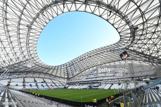 General view of Stade Velodrome ahead of the UEFA Europa League Semi Final First leg match between Olympique de Marseille and FC Red Bull Salzburg at...